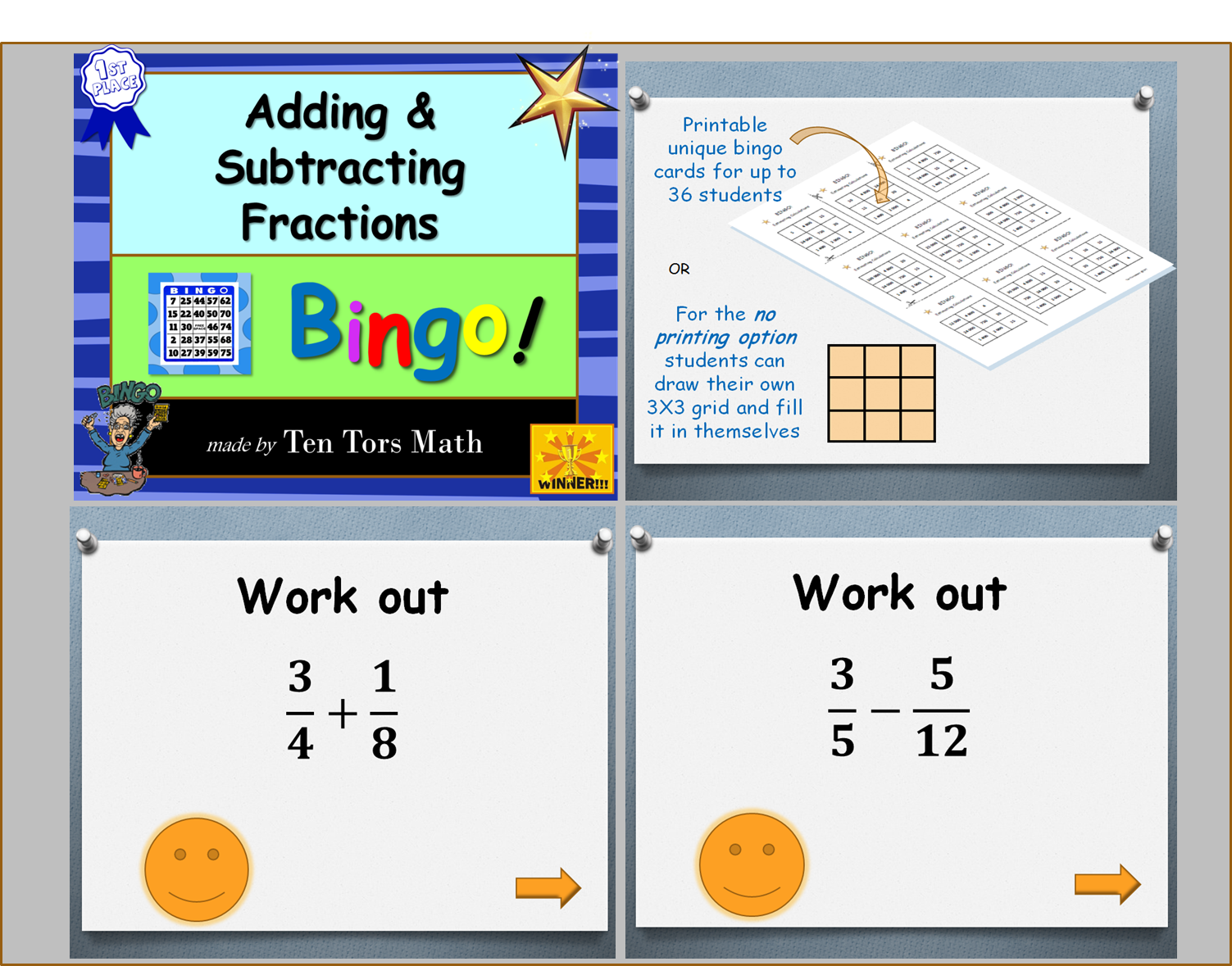 graphic about Addition Bingo Printable identify Introducing and Subtracting Fractions