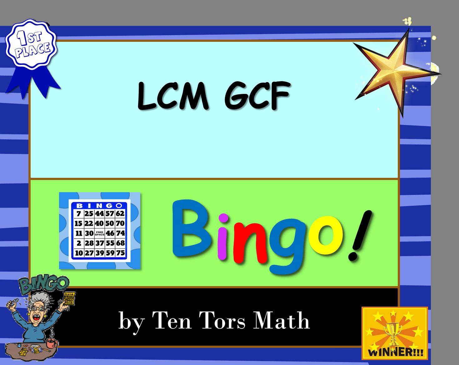 picture regarding Fraction Bingo Printable named GCF LCM Bingo Recreation