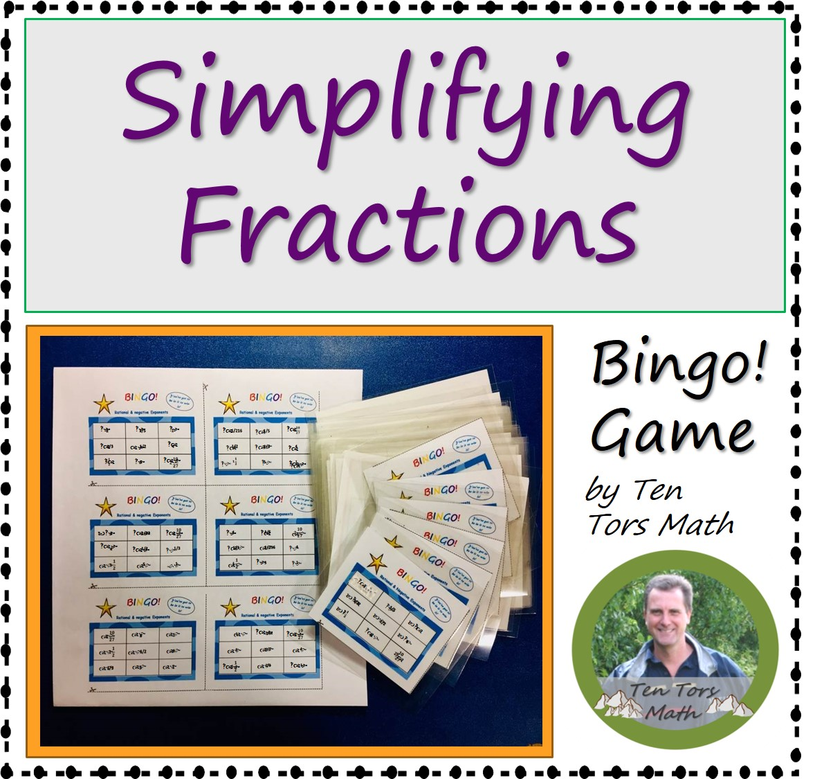 This is a photo of Simplifying Fractions Game Printable with worksheet