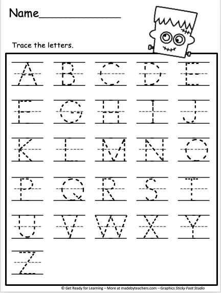 Trace Uppercase Letters Worksheet - Madebyteachers