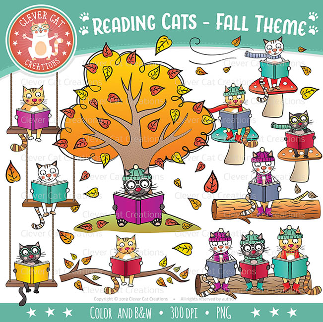 Animal Clip Art – Reading Cats – Fall Theme