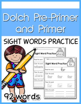 Dolch Pre-Primer and Primer Sight Words Practice