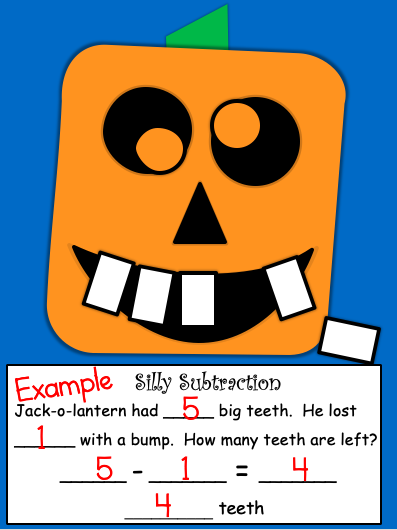 Silly Jack-O-Lantern Craft for Subtraction