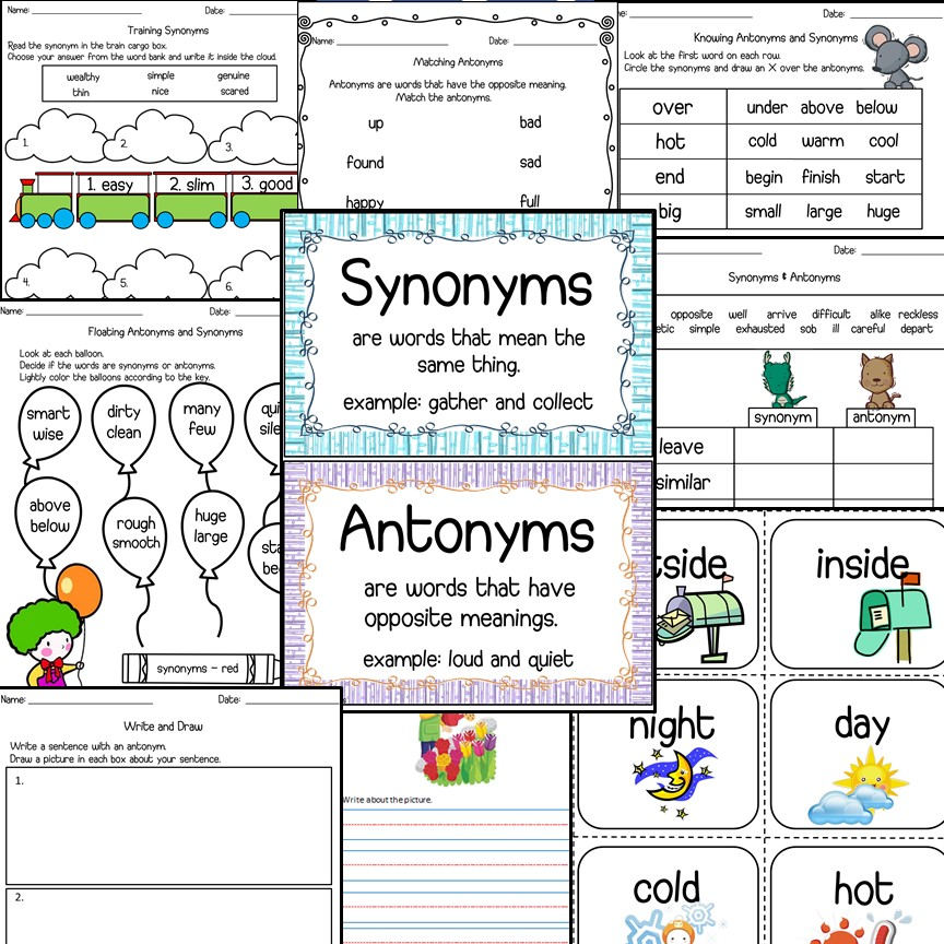 Antonyms & Synonyms Worksheets