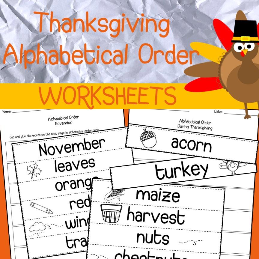 Thanksgiving Alphabetical Order Worksheets