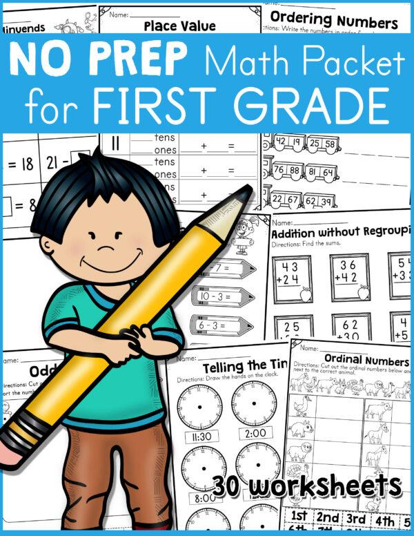 NO PREP Math Packet for First Grade