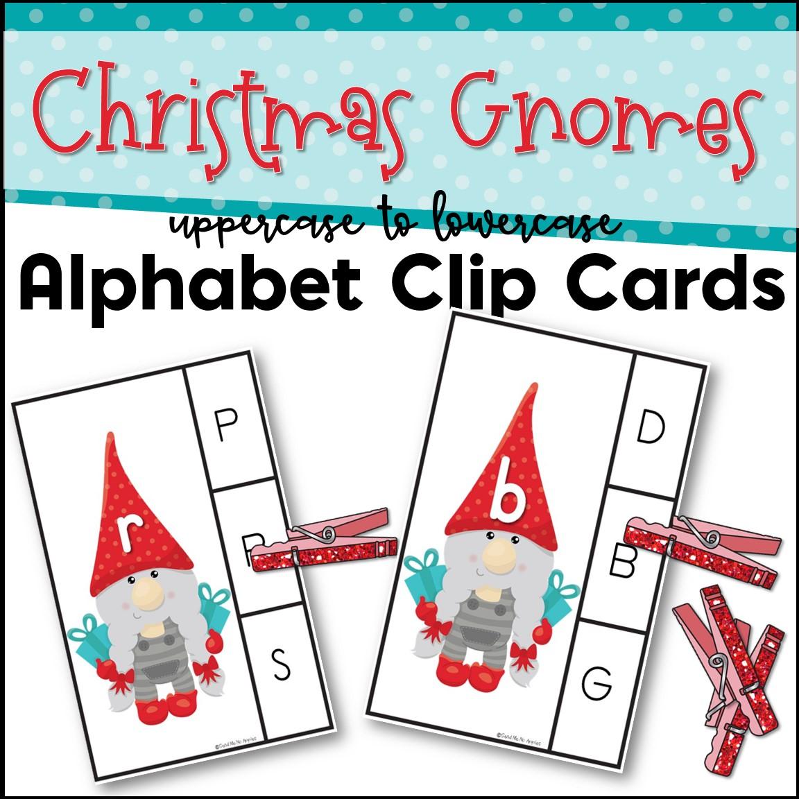 Kindergarten Center - Christmas Gnome Clip Cards Letter Match Set 3