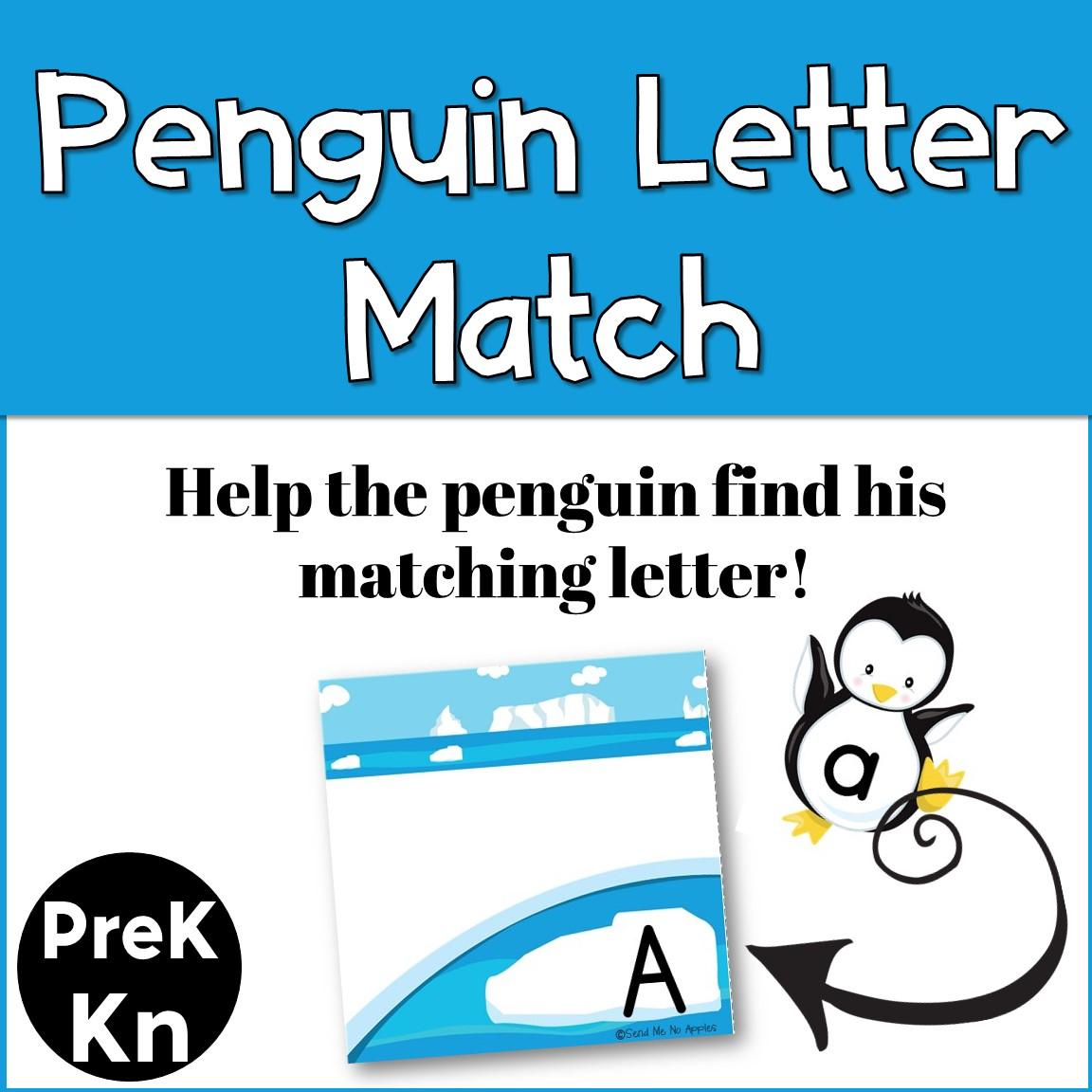 Kindergarten Center - Winter Penguin Alphabet Matching