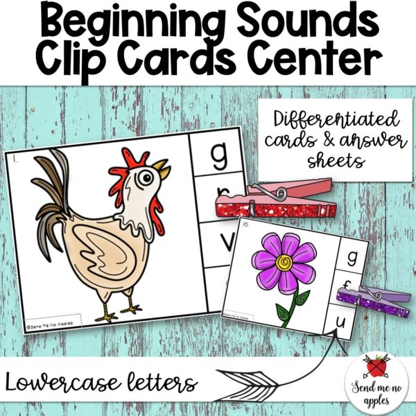 Beginning Sounds Clip Cards with Lowercase Letters