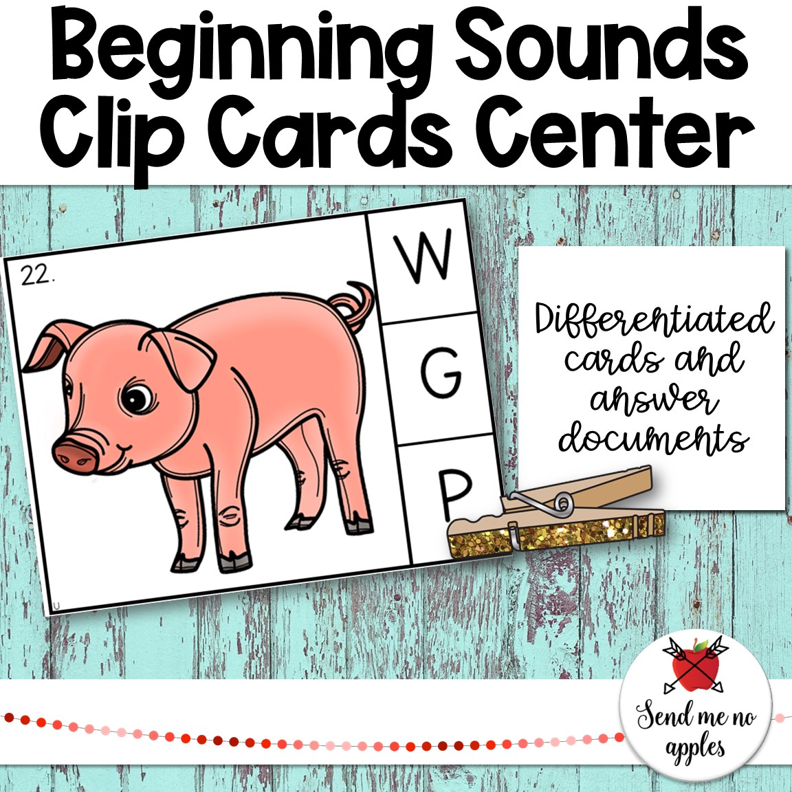 Beginning Sounds Clip Cards Center with Uppercase Letters