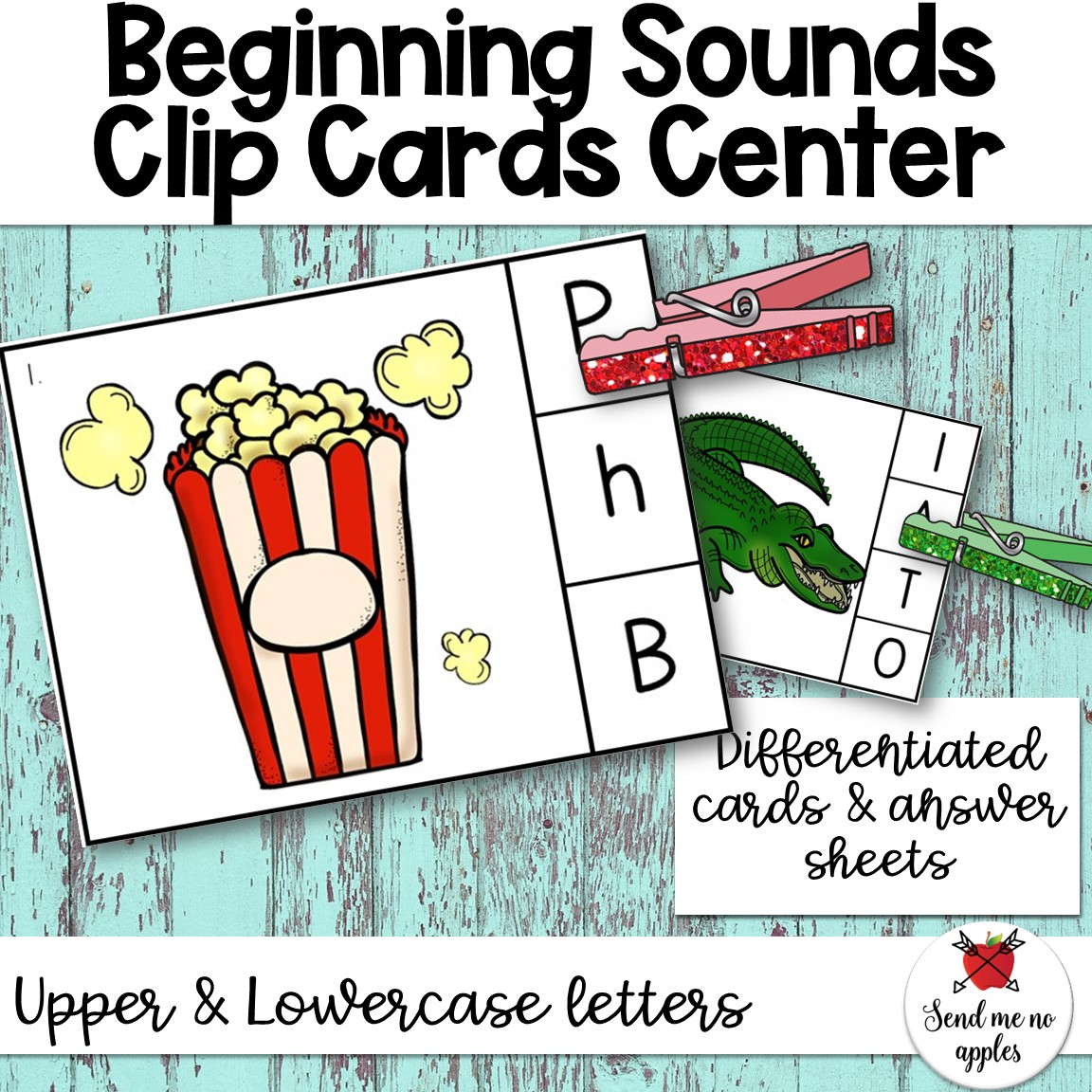 Beginning Sounds Clip Cards Uppercase and Lowercase