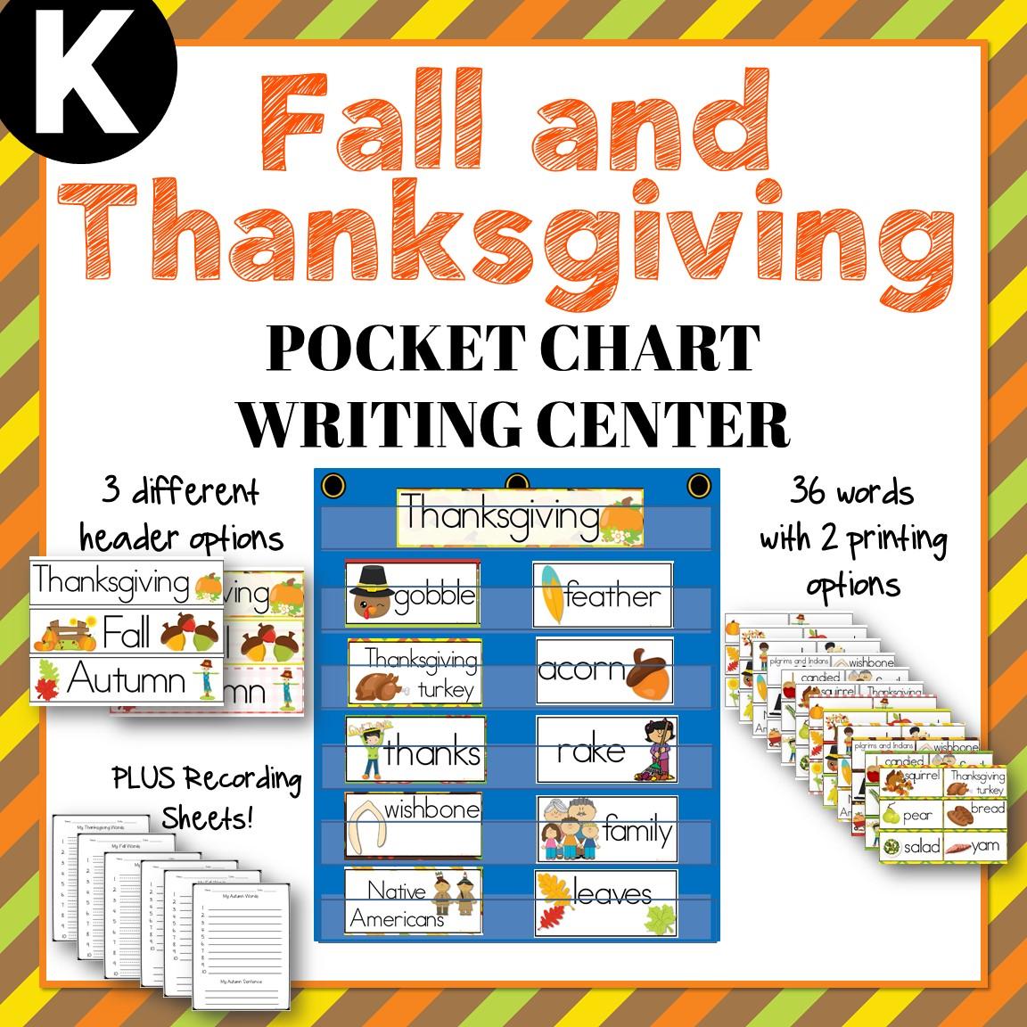 Kindergarten Center - Thanksgiving & Fall Pocket Chart Writing Center