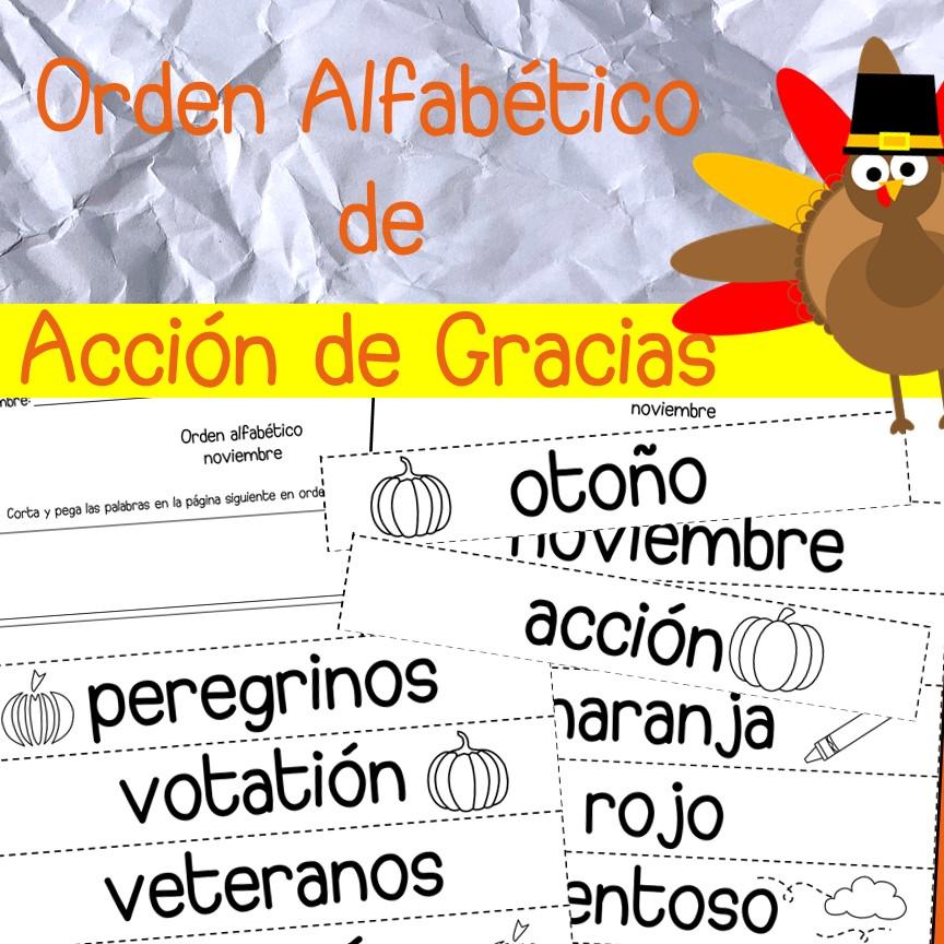 Orden Alfabetico Acción de Gracias