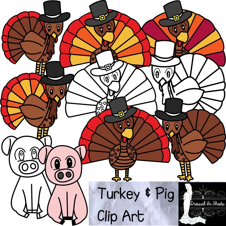 Turkey and Pig Clip Art