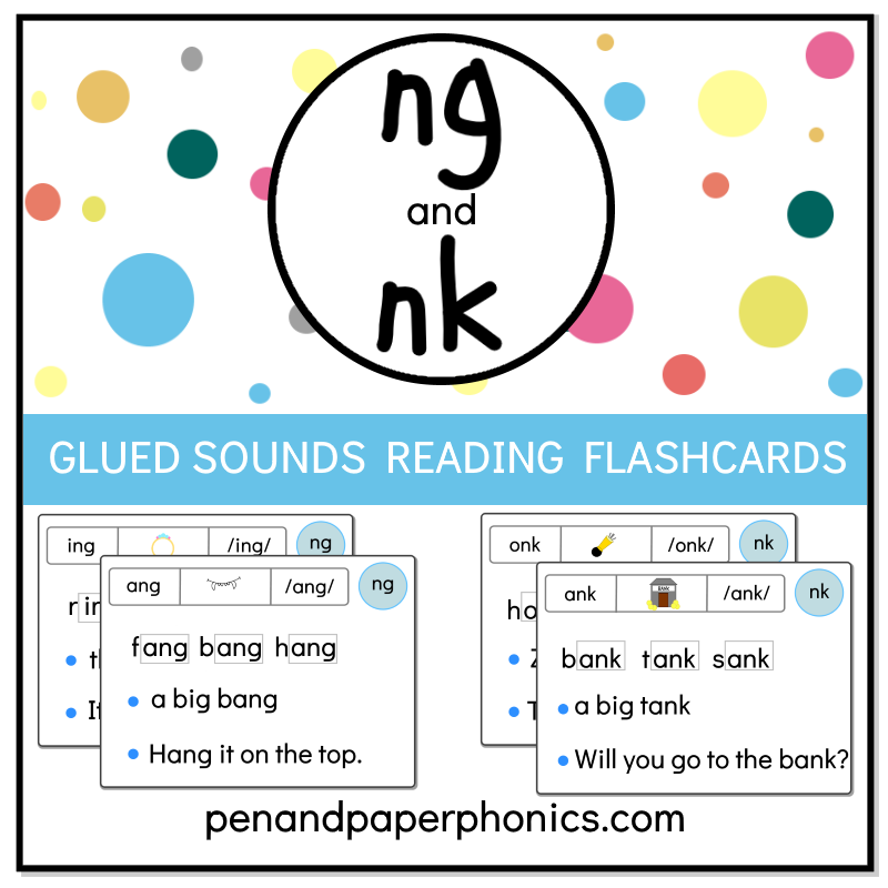NK and NG Glued Sounds Reading Flashcards