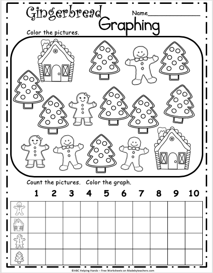 Free December Gingerbread Math Graph for Kindergarten ...