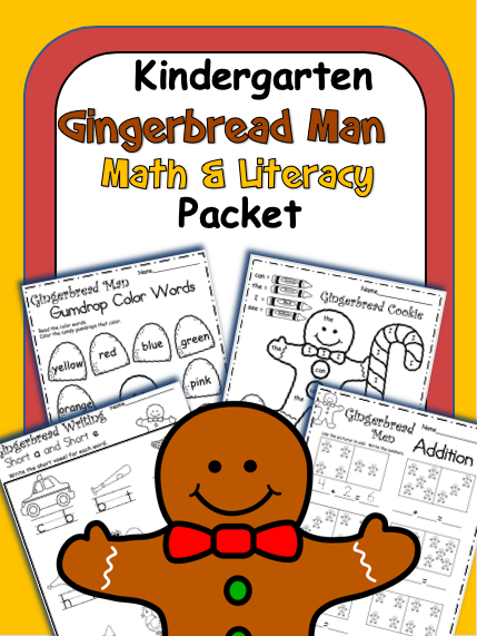 Gingerbread man Math Literacy Kindergarten Skill Book