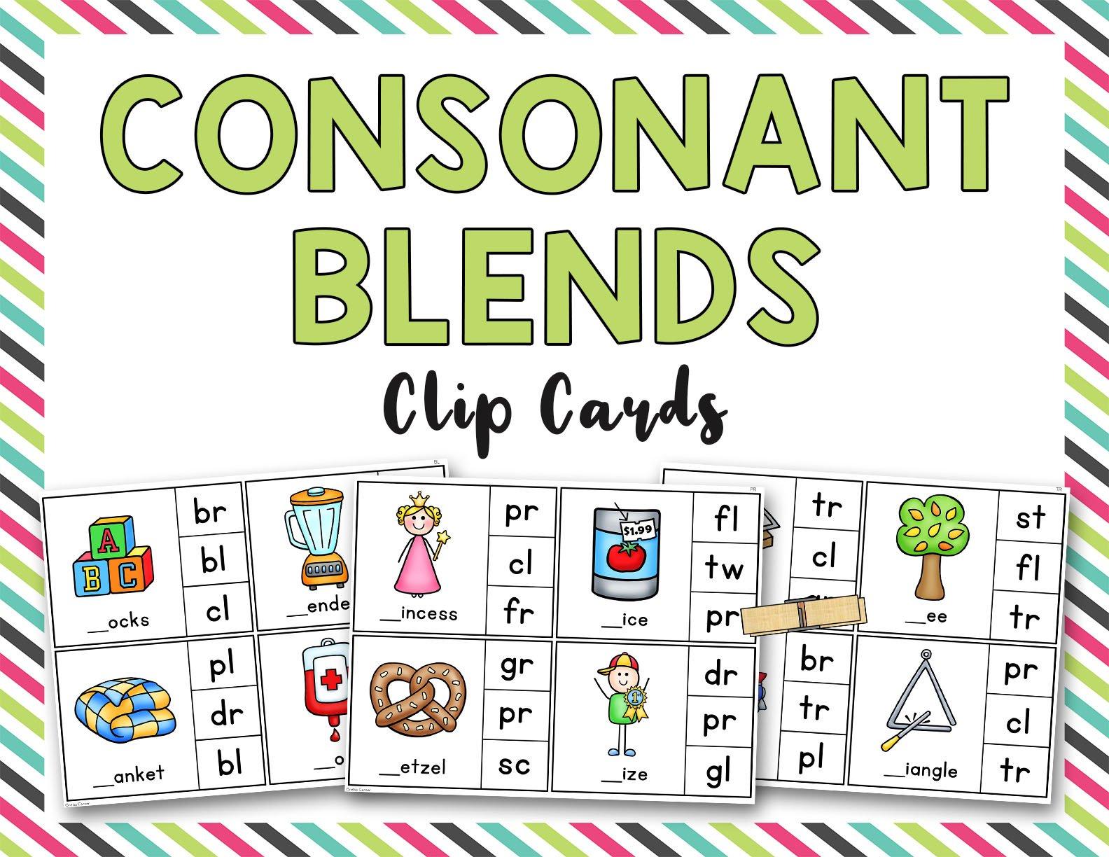 Consonant Blends Clip it Cards (L, R, S blends)