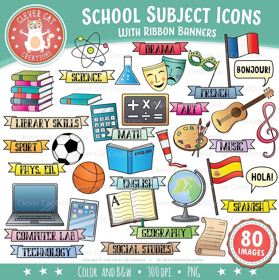 School Subjects Clip Art Icons