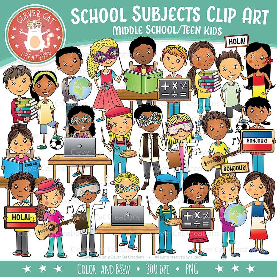 School Subjects Clip Art - Kids