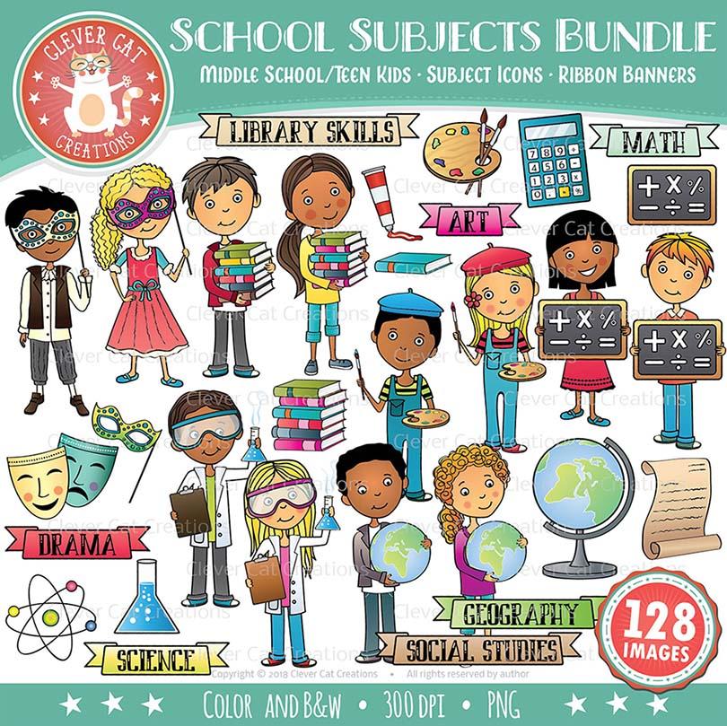 School Subjects Clip Art Bundle