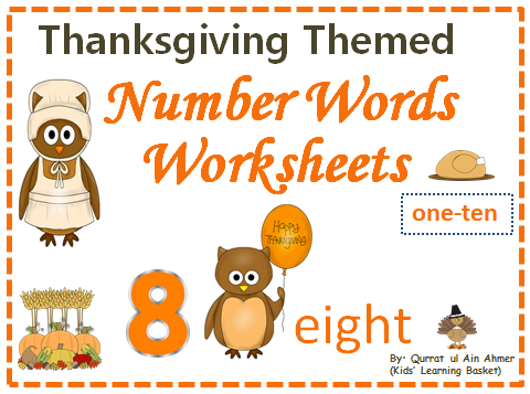 Thanksgiving Themed Number Words Worksheets (1-10)