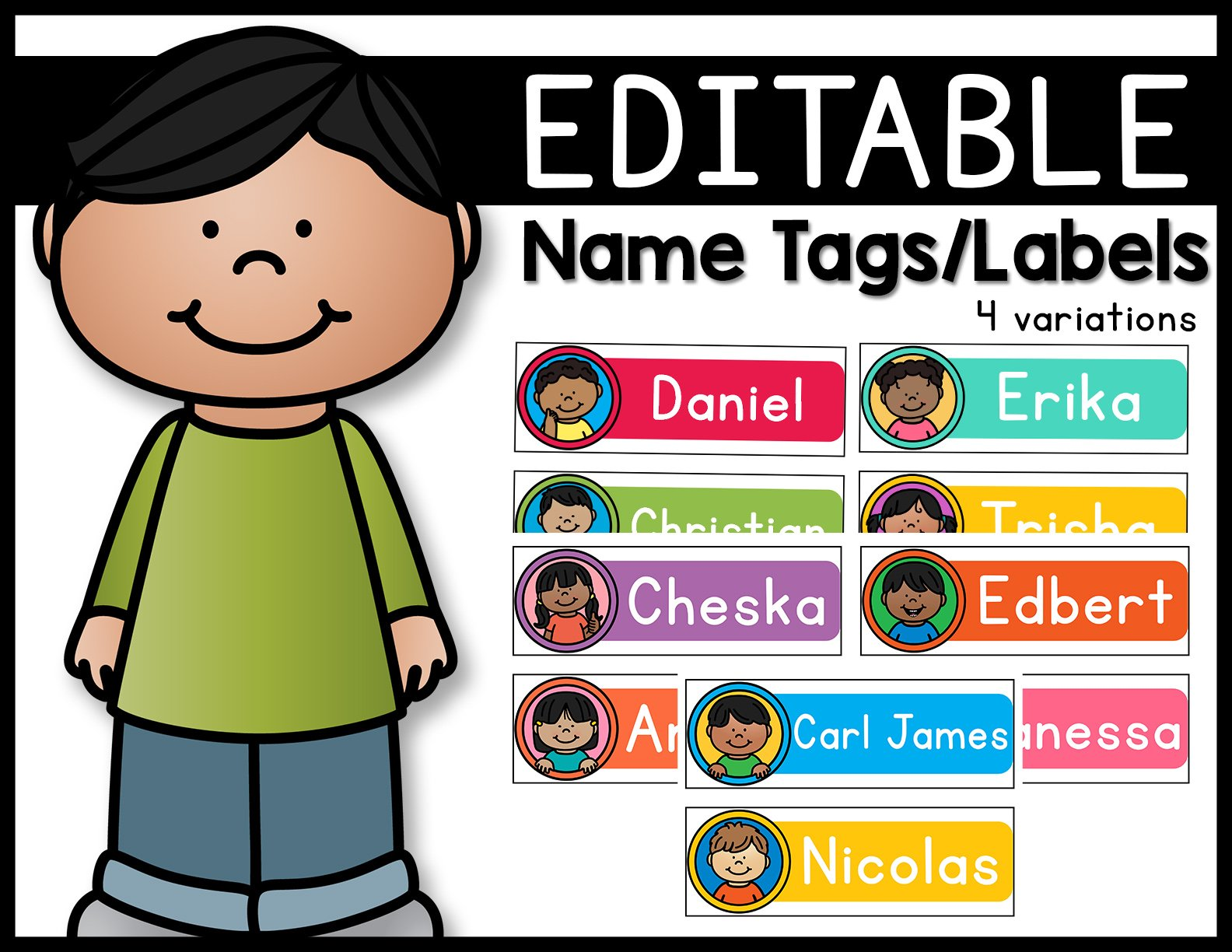 Editable Name Tags/Labels Kids Theme