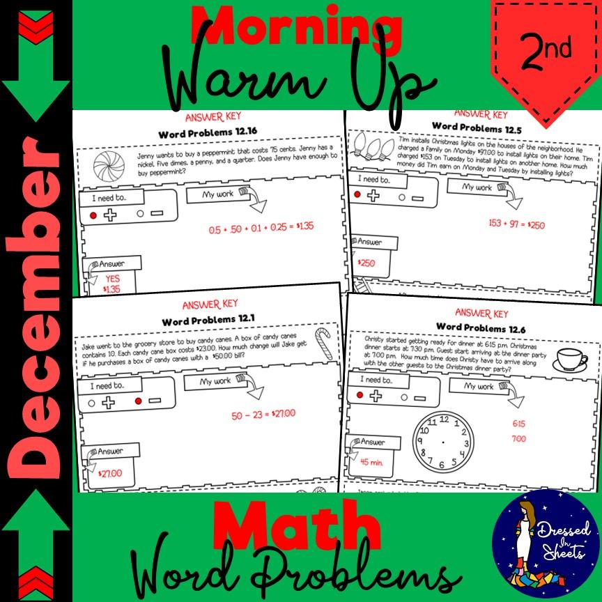 2nd Grade December Math Word Problems - Made By Teachers