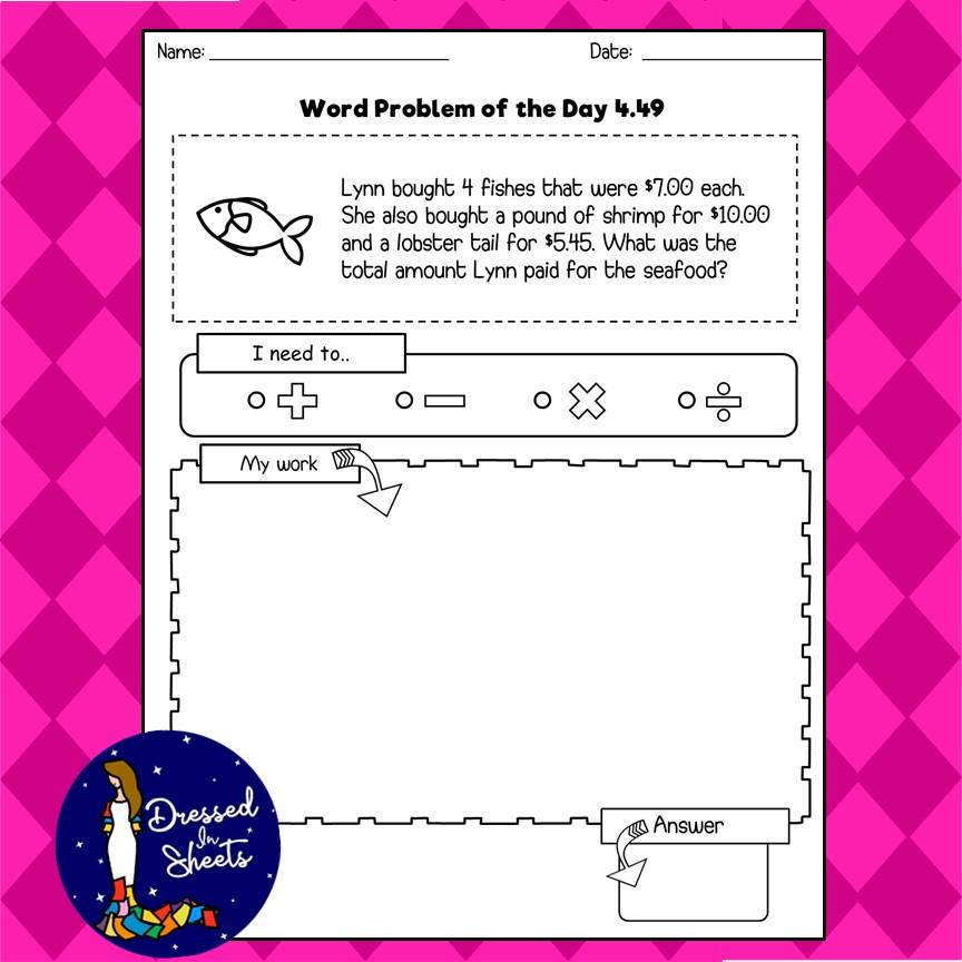 4th Grade word problem of the day - Madebyteachers