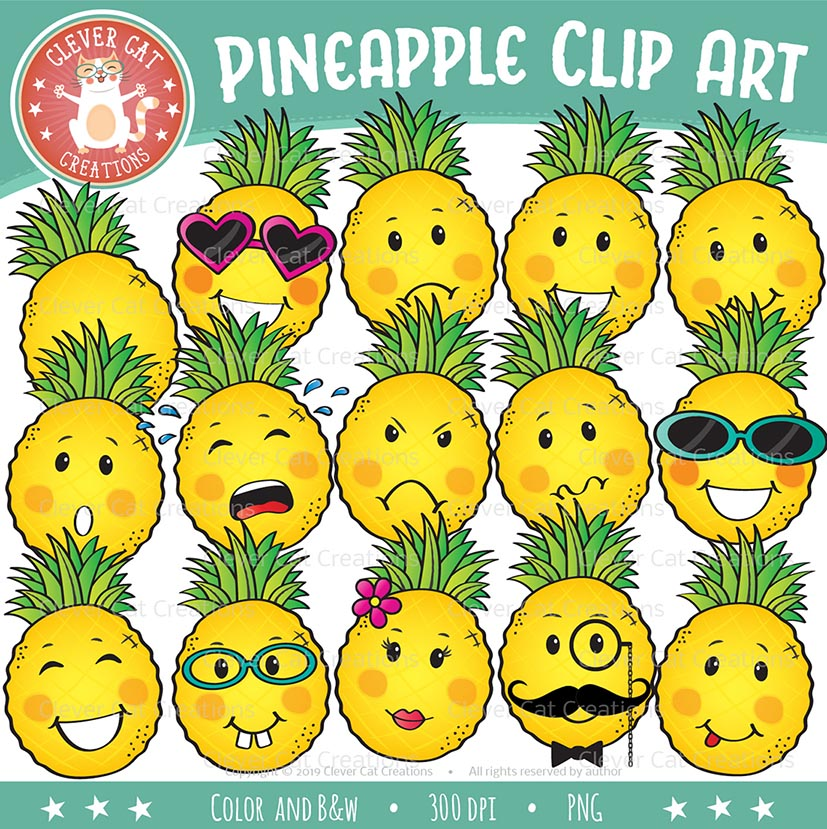 Summer Pineapple Clip Art {Emotions Clipart}