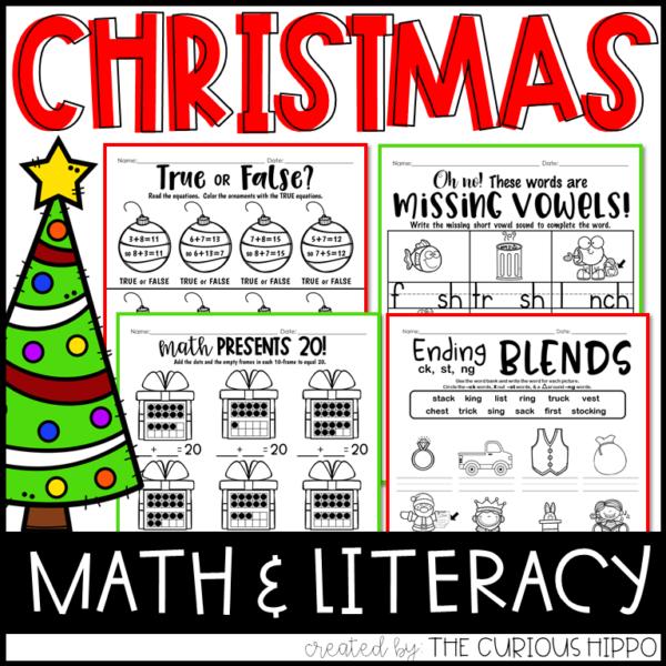 Christmas Math Literacy Printable Worksheets