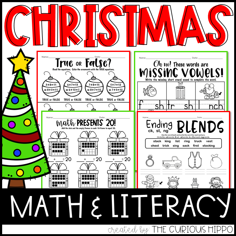 Christmas Math Literacy Printable Worksheets