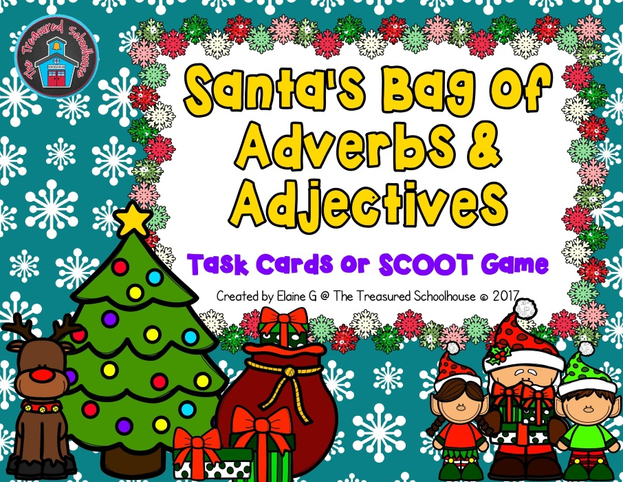 Adverbs and Adjectives Task Cards or SCOOT Game with Santa