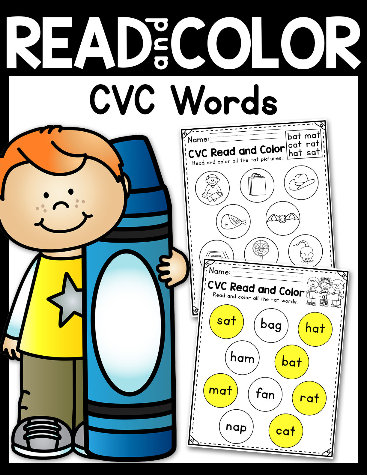 Read and Color CVC Words Worksheets