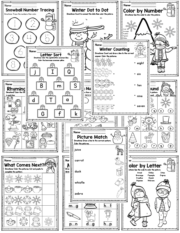 Winter Preschool Worksheets (January) - Madebyteachers