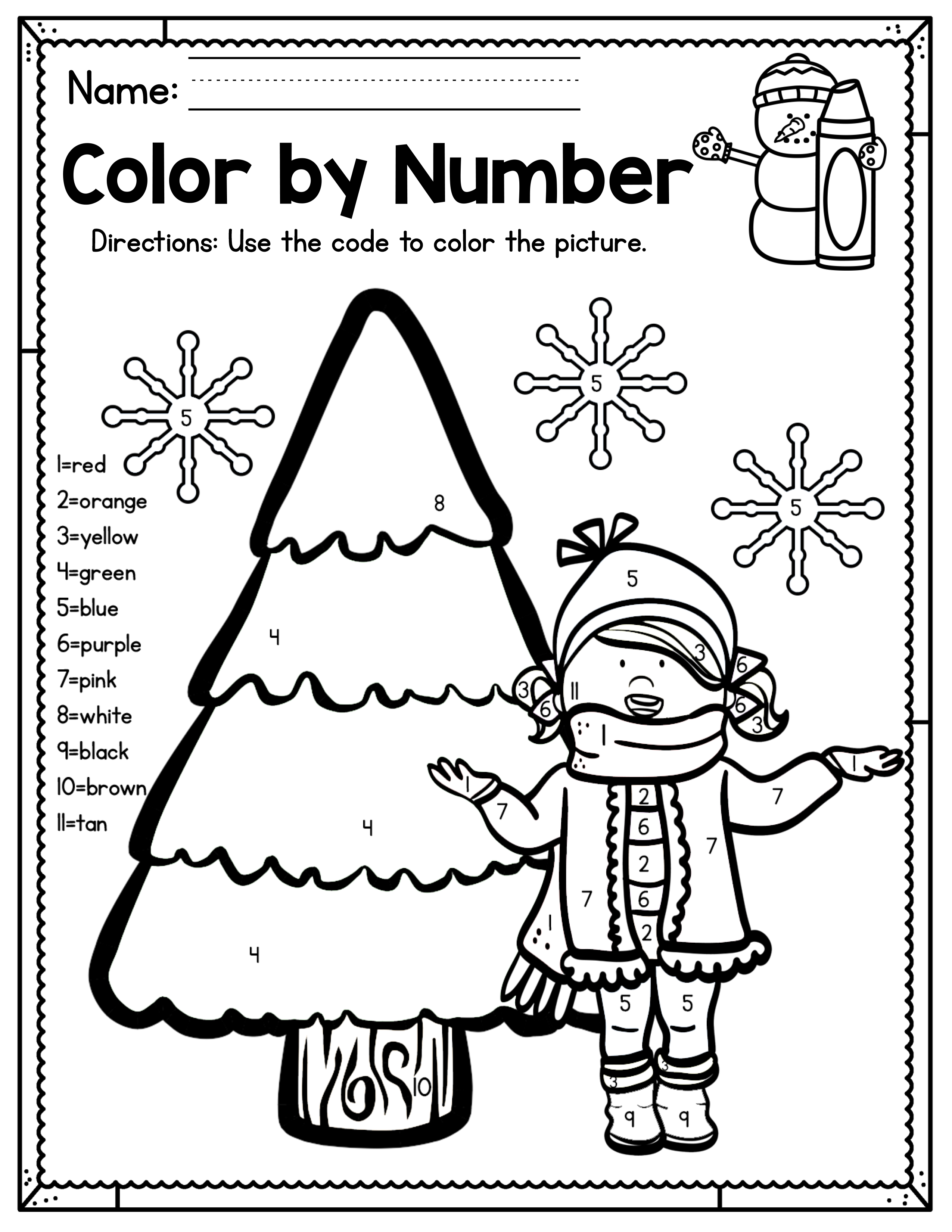 It's just an image of Printable Color by Number for full page