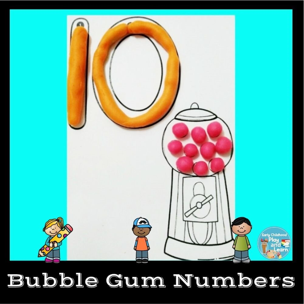 Bubble Gum Numbers Play-dough Mats