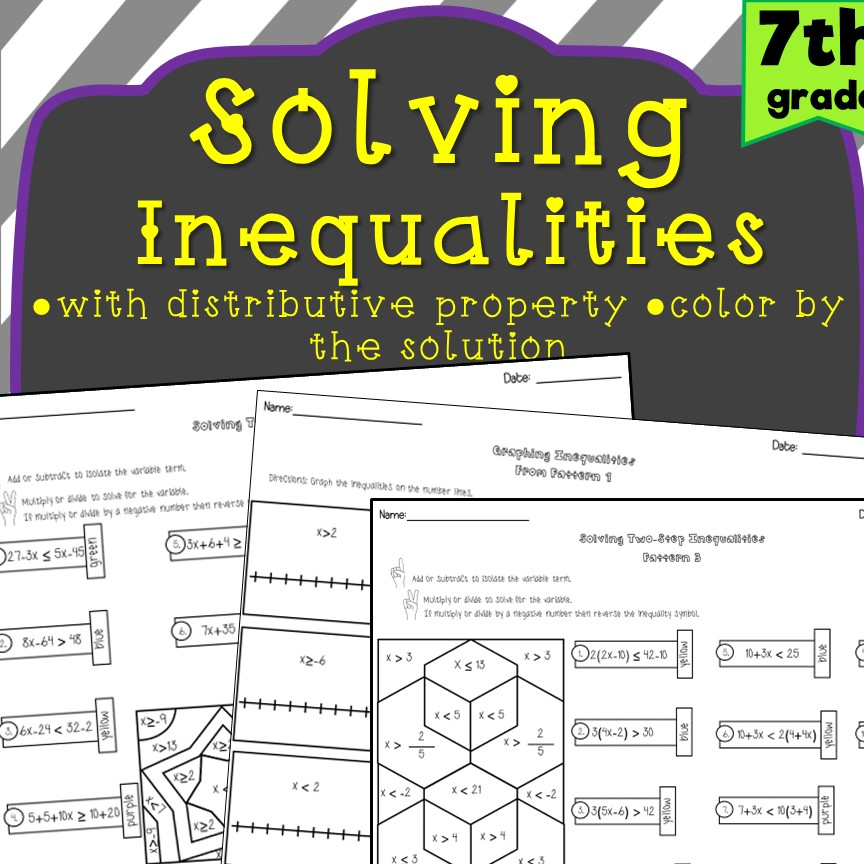 7th Grade Solving Inequalities Worksheets   Madebyteachers