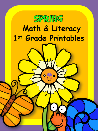 Spring Math and Literacy First Grade Worksheets
