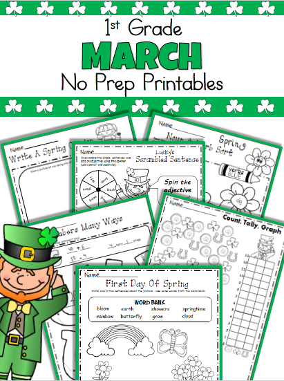 March No Prep Worksheets First Grade