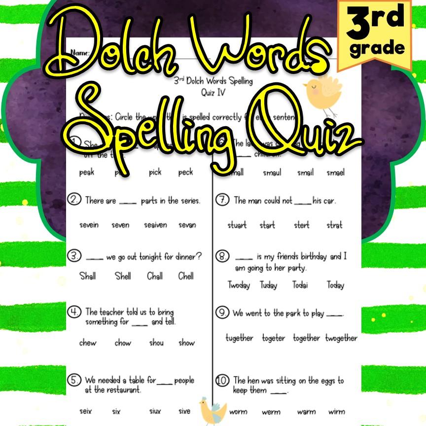 *3rd Grade* Dolch Words Spelling Quiz - Madebyteachers