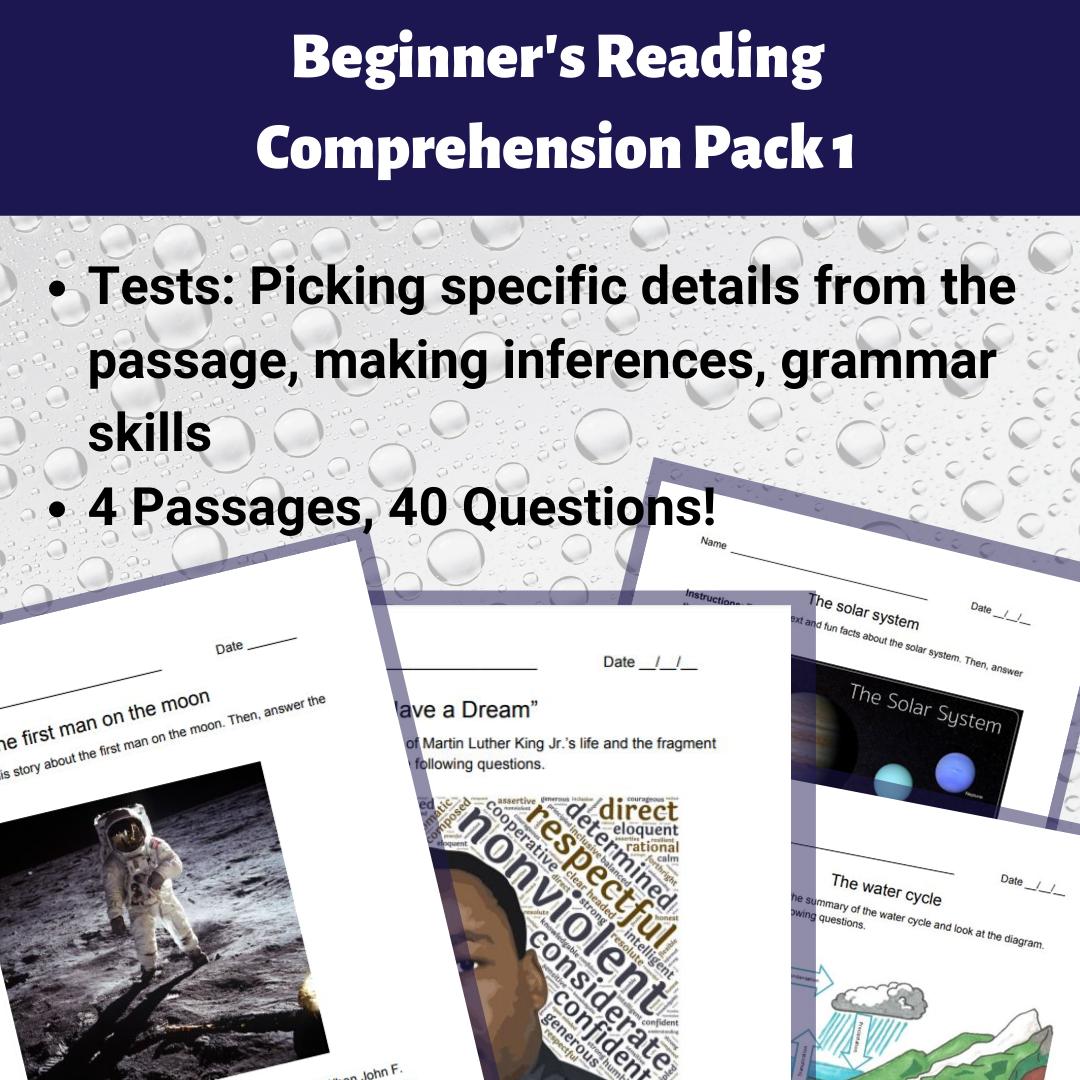 - Beginner's Reading Comprehension Pack 1 - Madebyteachers