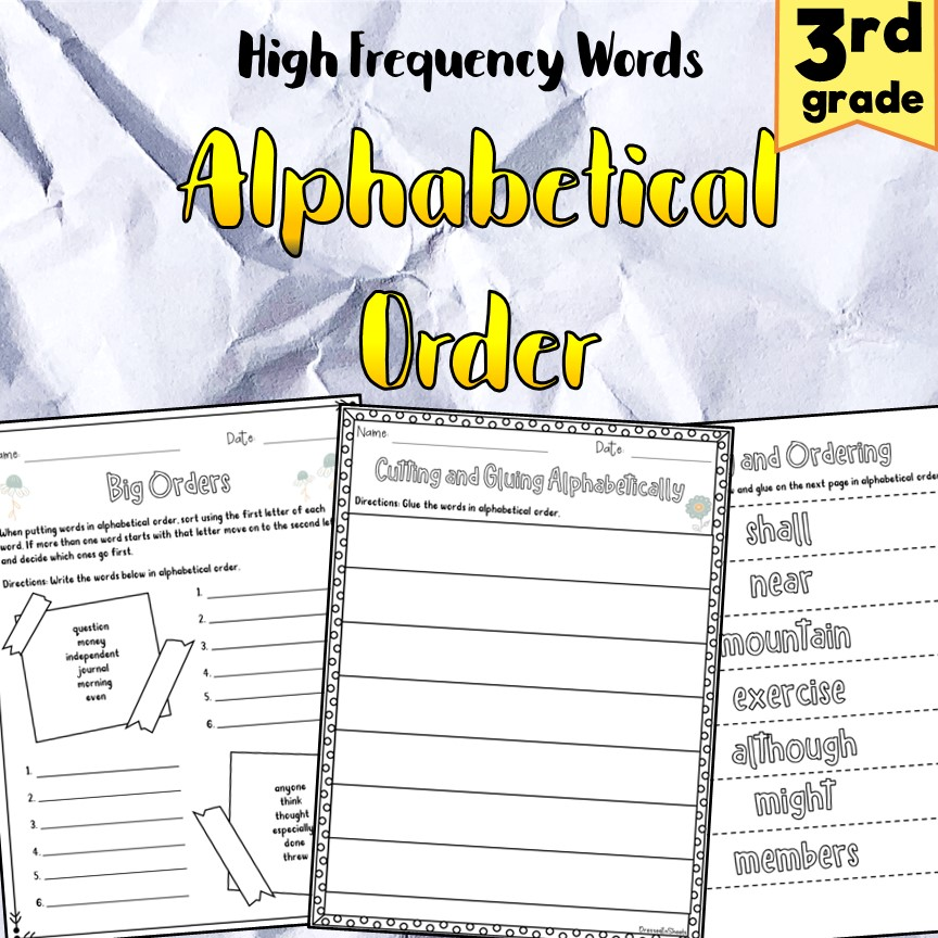 3rd Grade Alphabetical Order High Frequency Words ...