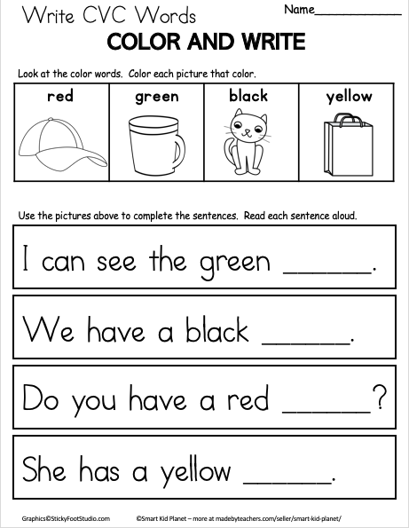 Free CVC Word Writing Worksheet for Kindergarten ...