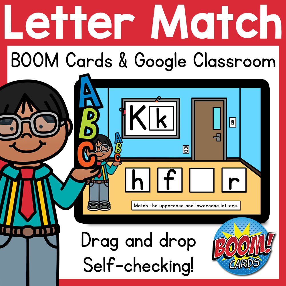 Letter Match Uppercase Lowercase BOOM Cards & Google Classroom