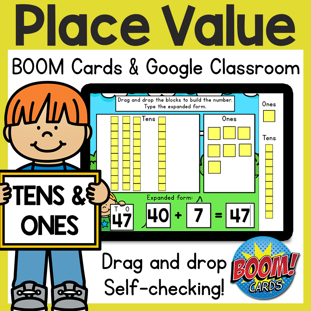 Place Value Base Ten BOOM Cards and Google Classroom Distance Learning