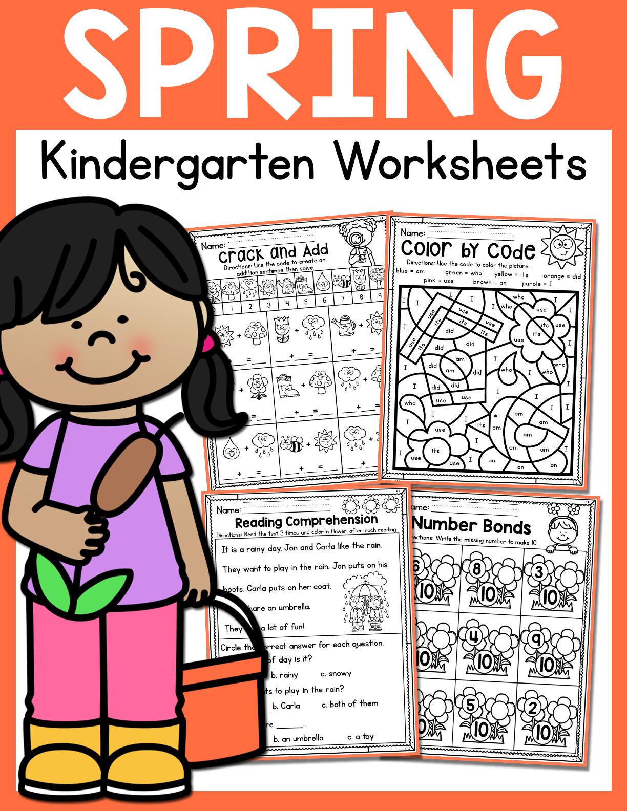 Spring Kindergarten Worksheets for May