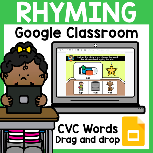 CVC Rhyming Words for Google Classroom Distance Learning