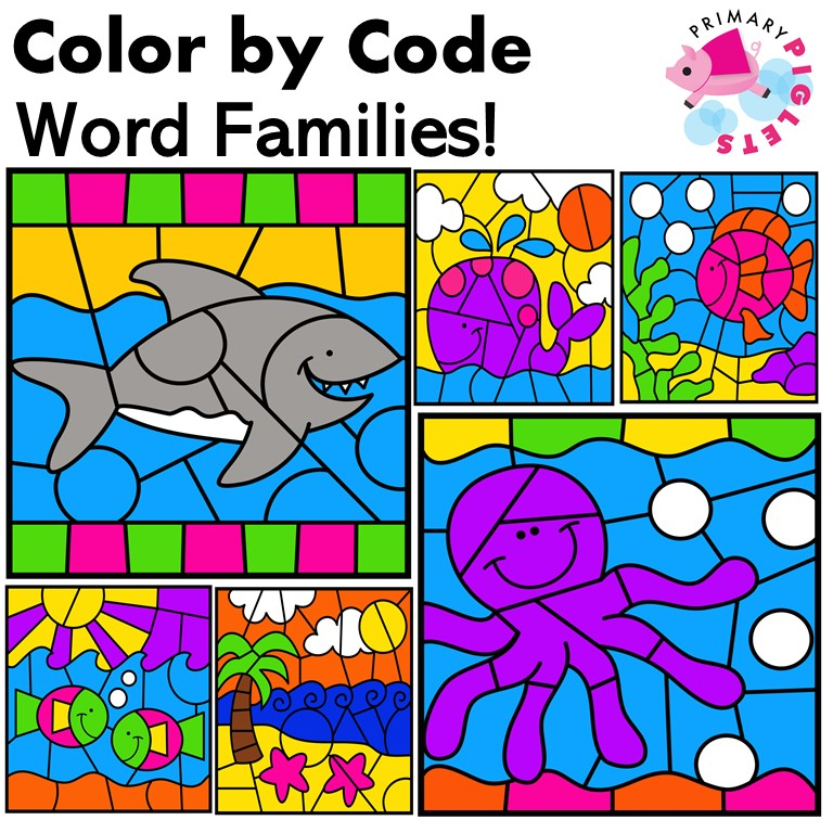 Color by word family worksheets
