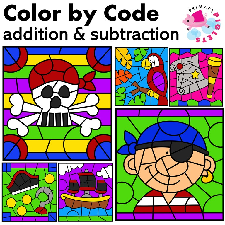 Color by Number Addition Subtraction Pirates Worksheets